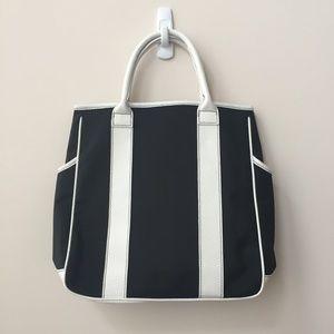 Lancome Black and White Stripe Handbag